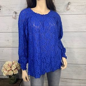 SIMONTON SAYS Blue Sheer Lace Long Sleeve Top